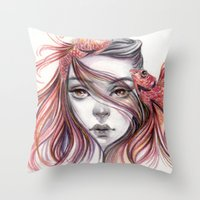fight Throw Pillows featuring Fight by Koanne Ko