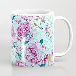 Vintage modern pink green teal watercolor floral Coffee Mug