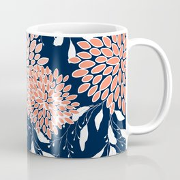 Floral Prints and Leaves, Navy, Coral and White Coffee Mug