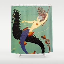 "Art Deco Illustration ""Water"" Shower Curtain"