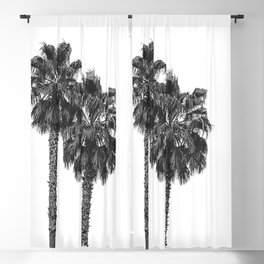 Dos Palmeras // Tropical Black and White Palm Tree Photography California Nature Ocean Vibes Blackout Curtain