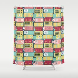 Turn the vintage radios on Shower Curtain