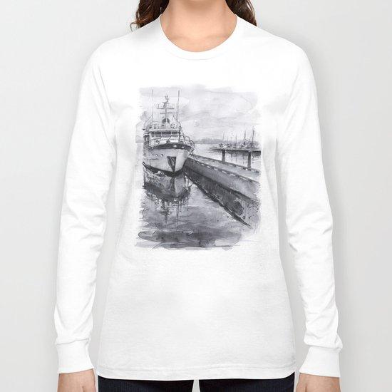 Kirkland Marina Waterfront Boat Watercolor Seattle Long Sleeve T-shirt