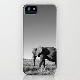 Lone female elephant walking along African savanna iPhone Case