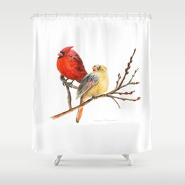 The Perfect Pair - Male and Female Cardinal by Teresa Thompson Shower Curtain