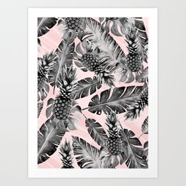 Leaves and pineapples pattern Art Print