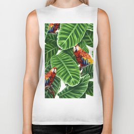 tropical leaves macaw pattern Biker Tank