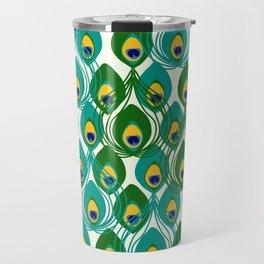 Abstract Peacock Pattern Travel Mug