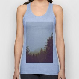 Olive Green Sepia Misty Pine Forest Landscape Photography Parallax Trees Unisex Tank Top