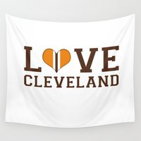cleveland Wall Tapestries featuring LUV Cleveland by C. Wie Design