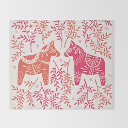 Swedish Dala Horses – Melon Palette Throw Blanket