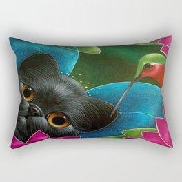 FAIRY KITTEN CAT with RUBY HUMMINGBIRD  Rectangular Pillow