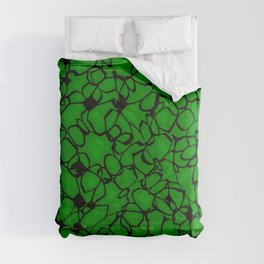 Chaotic bubbly emerald thread of spherical molecules on dark glass.  Comforters