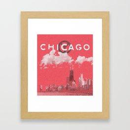 Chicago - Red Framed Art Print