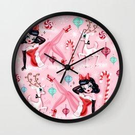 Christmas Pinup Girl with Reindeer Wall Clock