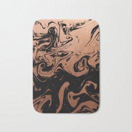 Suminagashi japanese spilled ink copper metallic marble pattern minimalist decor marbling Bath Mat