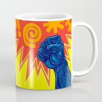 superheroes Mugs featuring Superheroes SF by Nick Volkert