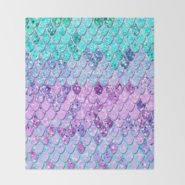 Mermaid Scales with Unicorn Girls Glitter #9 #shiny #decor #art #society6 Throw Blanket