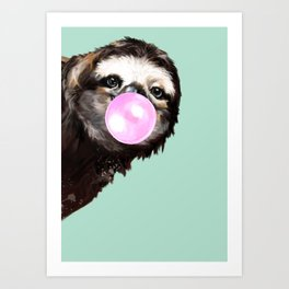 Bubble Gum Sneaky Sloth in Green Art Print