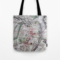 boston map Tote Bags featuring Boston Old Map Photography by Eyne Photography
