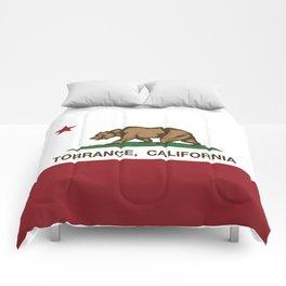Torrance California Republic Flag Comforters