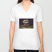 castle V-neck T-shirts featuring Castle by Matthias Leutwyler