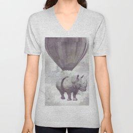 Rhino on Clouds Unisex V-Neck