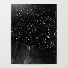 Moon Rising in the dark Black and White Poster
