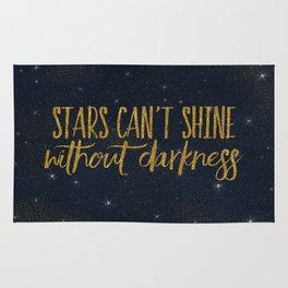 Stars- Darkness - sparkling gold glitter effect night typography on #Society6 Rug