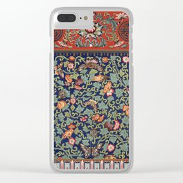 Asian Floral & Butterfly Pattern in Navy Blue Antique Illustration Clear iPhone Case