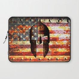 American Flag And Spartan Helmet On Rusted Metal Door - Molon Labe Laptop Sleeve