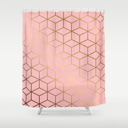 Pink and Gold Geometry 011 Shower Curtain