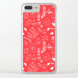 Doodle Christmas pattern red Clear iPhone Case