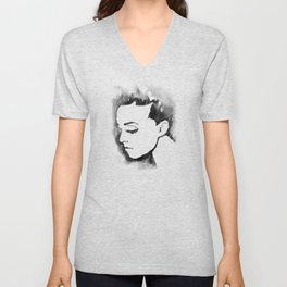 Portrait  (Ink Painting) Unisex V-Neck