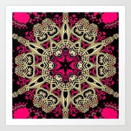 Hot Pink  + Hexagon Gold Star Art Print