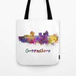 Greensboro skyline in watercolor Tote Bag