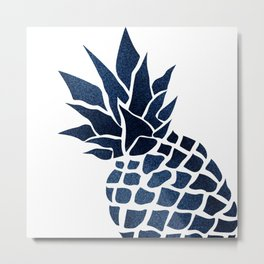Pineapple, Big Blue, Denim Navy Metal Print