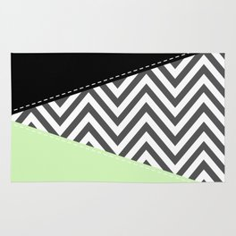 Zigzag Pattern, Chevron Pattern - Gray Green Black Rug