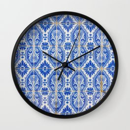 Close-up of blue and white ceramic wall tiles in Tavira, Portugal Wall Clock