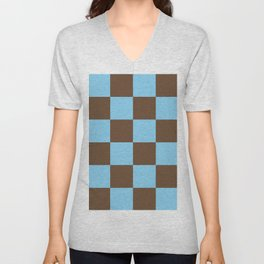 Baby Blue and Almond Brown Checkered Pattern (ix 2021) Unisex V-Neck