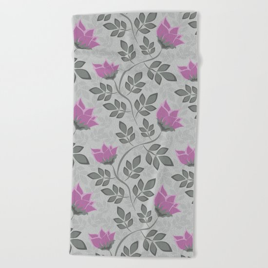 Liana purple flowers . Beach Towel