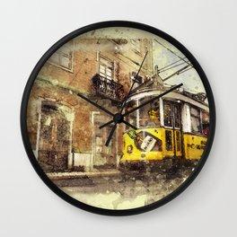 Trolly Train Car subway vintage rustic watercolor painting acrylic france europe italy amsterdam art Wall Clock