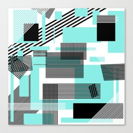Abstract black teal modern squares stripe pattern Canvas Print
