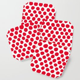 Juicy Red Apple Polka Dots with White Coaster