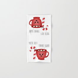 You're Hot! Thanks Sugar! Candy Cane & Hot Chocolate Couple Hand & Bath Towel