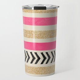 PINK AND GOLD STRIPES AND ARROWS Travel Mug