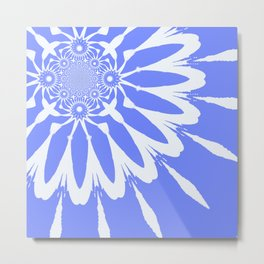 The Modern Flower Baby Blue & White Metal Print