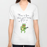 muppets V-neck T-shirts featuring Muppets Kermit by BlackBlizzard
