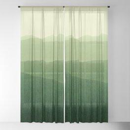 gradient landscape green Sheer Curtain