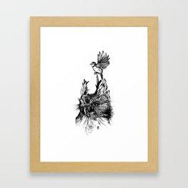 Beautiful owl with bluetit Framed Art Print